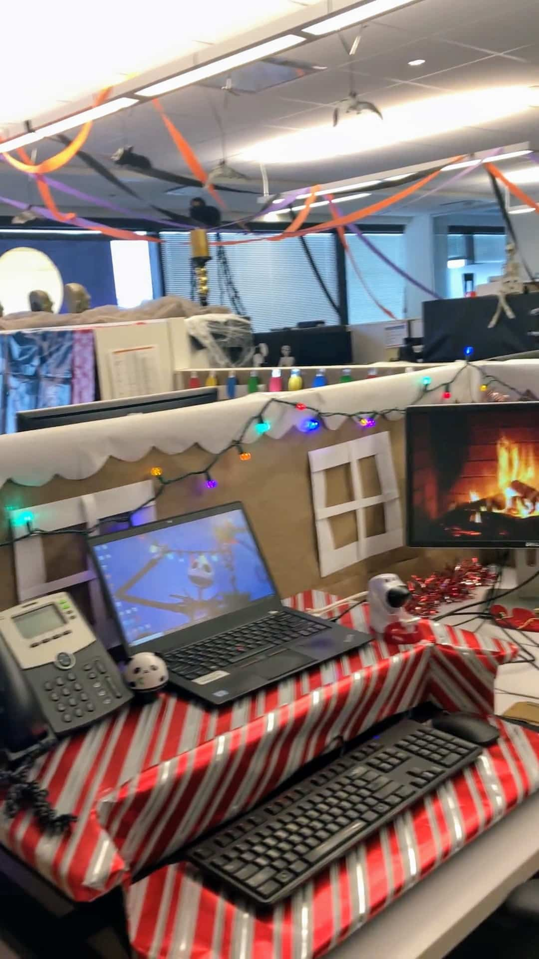 A cubicle decorated as Christmas Town from the Nightmare Before Christmas