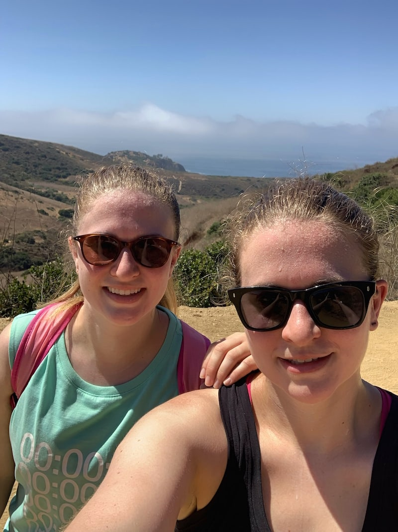 Brittany and Janel, the Printable Pair, on a hike in California
