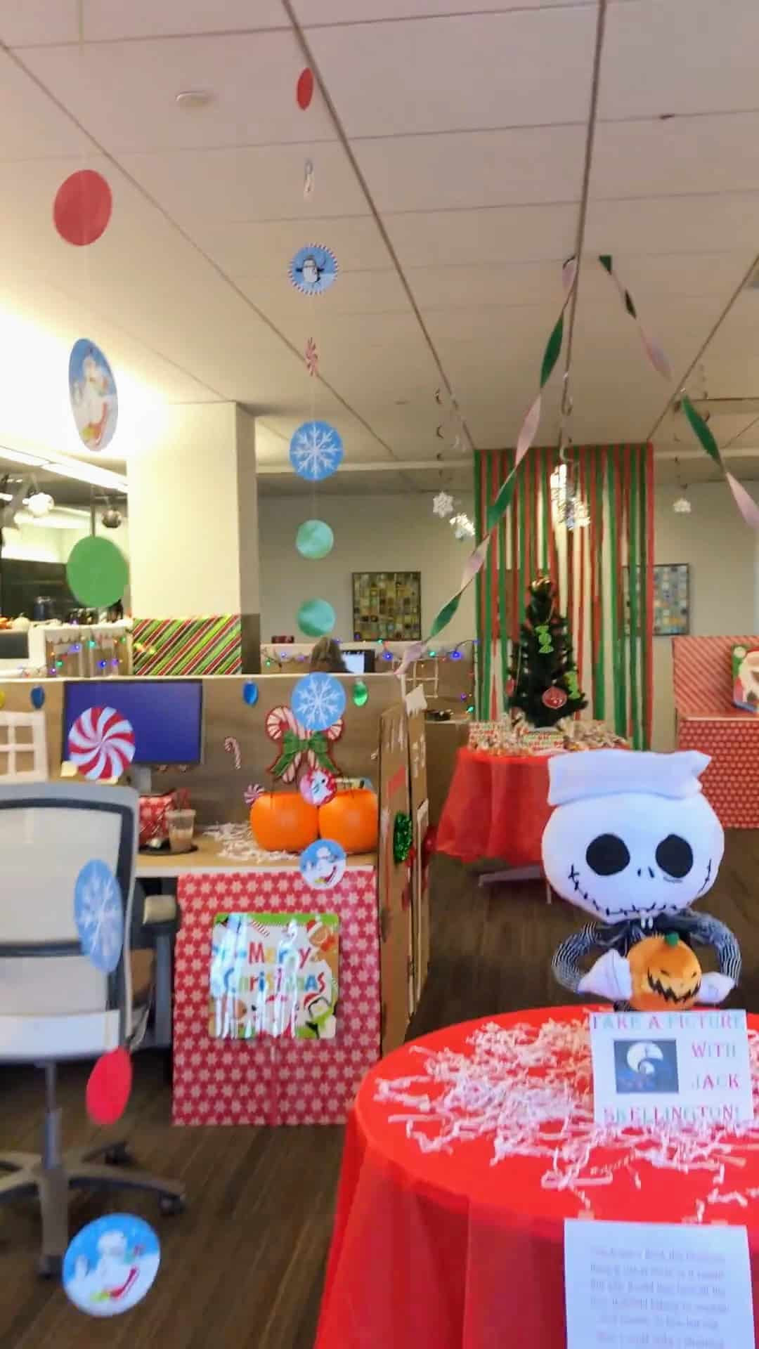 An office decorated as Christmas Town from A Nightmare Before Christmas
