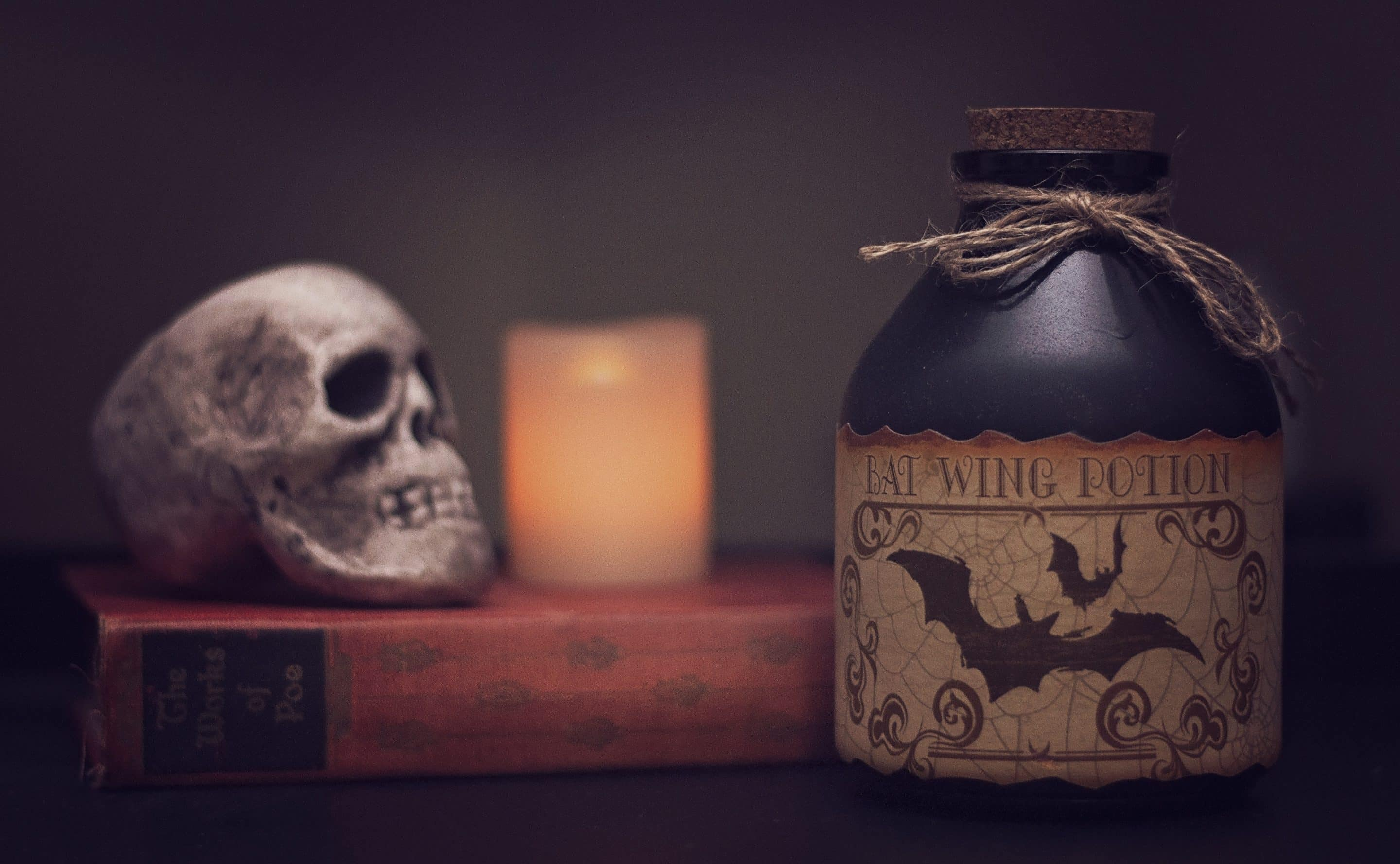 Spooky skull and poison Halloween Decorations for Home Office
