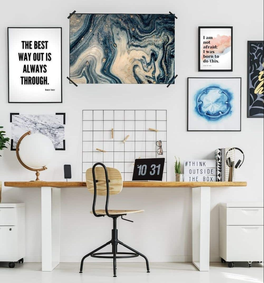 Home Office With Inspirational Art