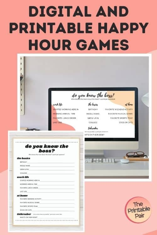 Digital and Printable Virtual Happy Hour Games