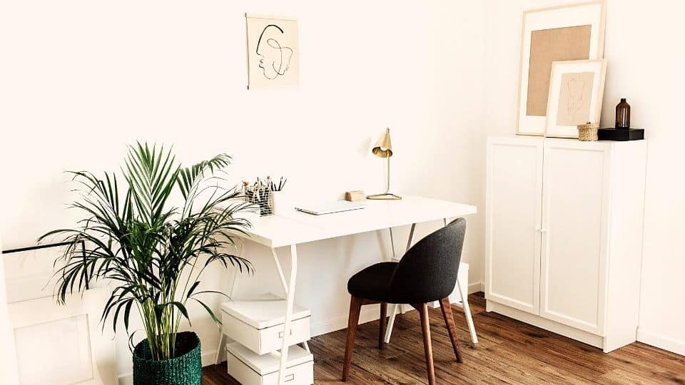 A simple home office setup with a white desk, one drawing on the wall, and a plant in the corner