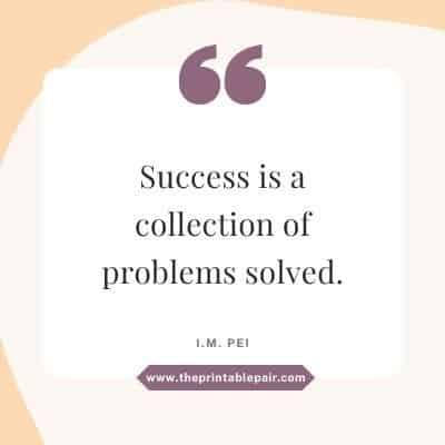 Success is a collection of problems solved.
