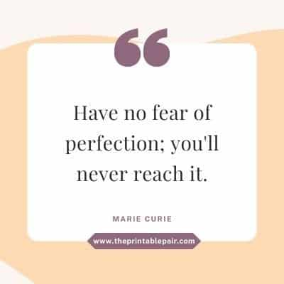 Have no fear of perfection; you'll never reach it.