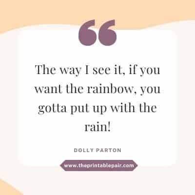 The way I see it, if you want the rainbow, you gotta put up with the rain!