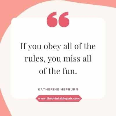 If you obey all the rules, you miss all of the fun.