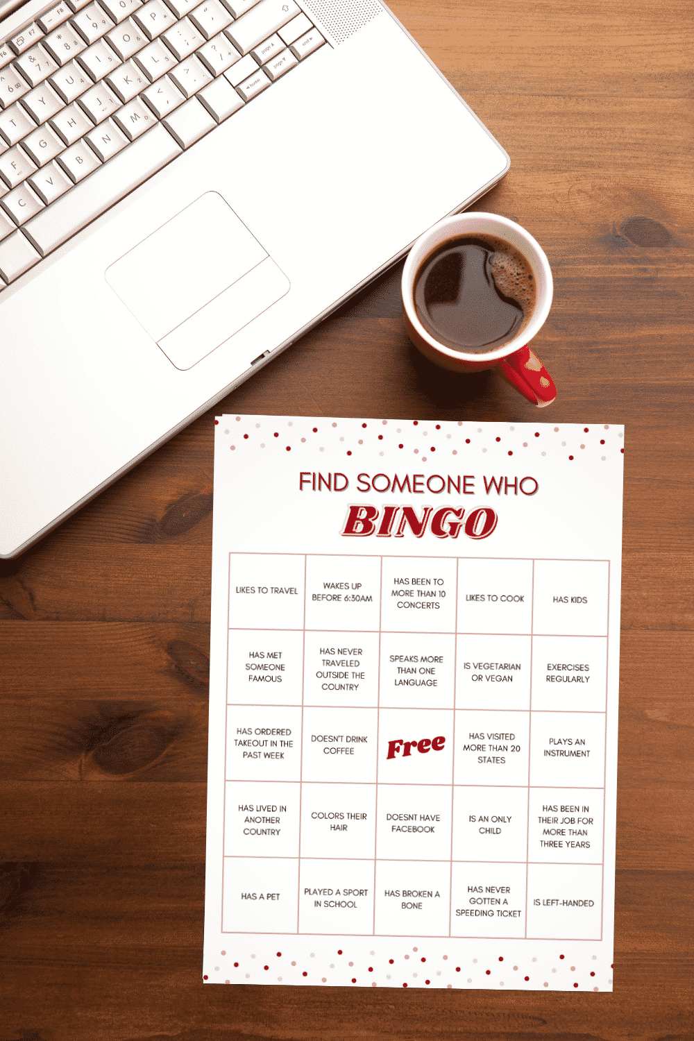 Find Someone Who Bingo next to a computer