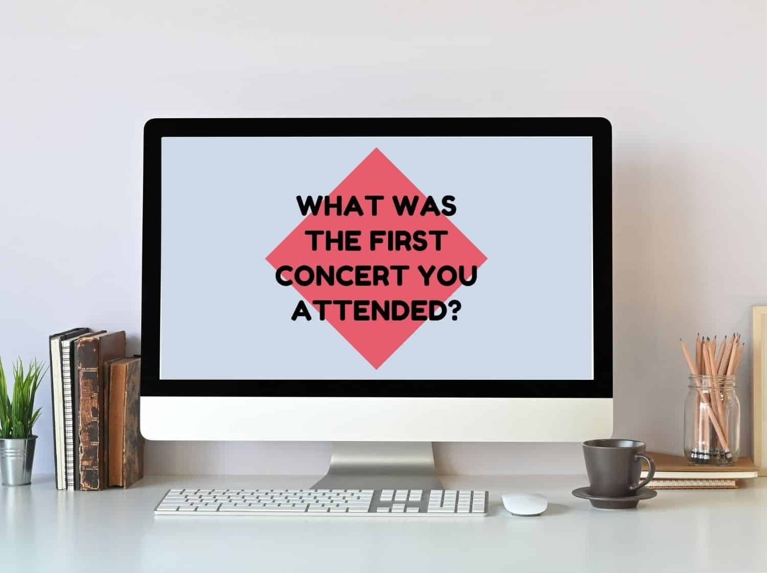 """A virtual conversation starter game is shown on a computer with the question """"What was the first concert you attended?"""""""